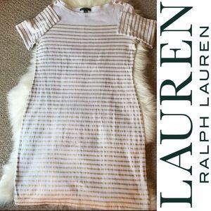 Lauren By Ralph Lauren white/gold stripped dress